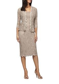 Alex Evenings Two-Piece Tea Length Dress and Jacket Set