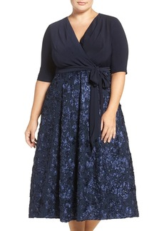 Alex Evenings Tea Length Jersey & Rosette Lace Dress (Plus Size)