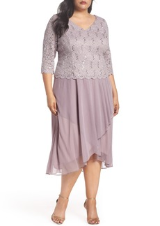 Alex Evenings Tea Length Lace & Chiffon Mock Two-Piece Dress (Plus Size)