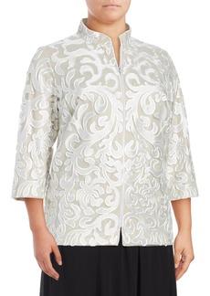 Alex Evenings Plus Textured Lace & Mesh Jacket