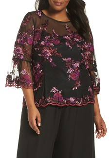 Alex Evenings Three-Quarter Sleeve Embroidered Top (Plus Size)