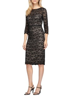 ALEX EVENINGS Three Quarter Sleeve Floral Lace Sheath Dress