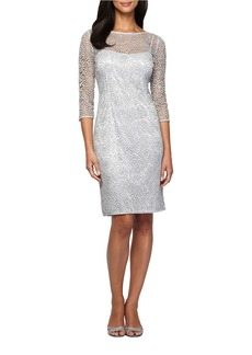 ALEX EVENINGS Three Quarter Sleeve Sequined Lace Illusion Sheath Dress