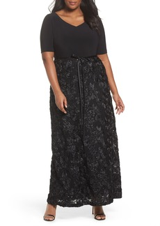 Alex Evenings Tie-Waist A-Line Gown with Satin Rosette Skirt (Plus Size)