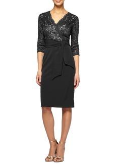 Alex Evenings Tie Waist Lace Sheath Dress