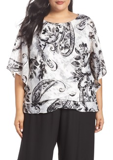 Alex Evenings Tiered Chiffon Blouse (Plus Size)