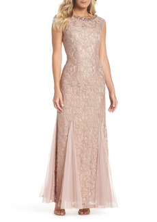 Alex Evenings Tulle & Lace Gown (Regular & Petite)