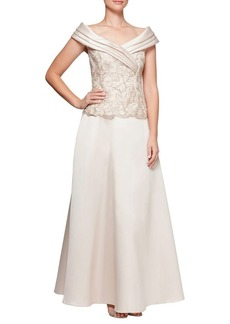 Alex Evenings Two-Piece Embroidered Blouse and Ball Skirt Set