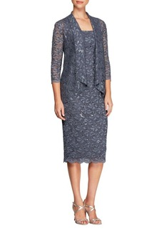 Alex Evenings Two-Piece Floral and Sequined Cardigan and Midi Dress