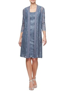 Alex Evenings Two-Piece Lace Dress and Illusion Jacket
