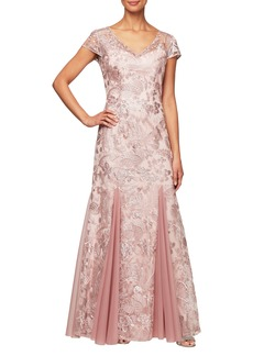 Alex Evenings V-Neck Embroidered Evening Dress (Regular & Petite)