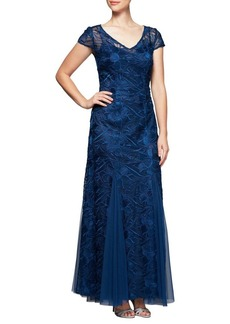 Alex Evenings V-Neck Lace Fit-and-Flare Gown