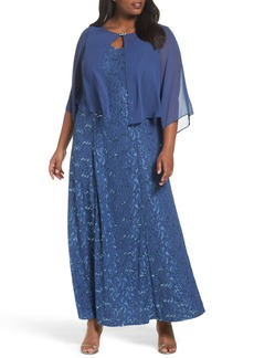 Alex Evenings V-Neck Lace Gown with Capelet Overlay (Plus Size)