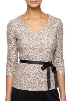 Alex Evenings V-Neck Sequined Blouse