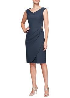 Alex Evenings V-Neck Sheath Dress (Regular & Petite)