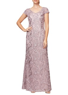 Alex Evenings V-Neck Soutache Trumpet Gown