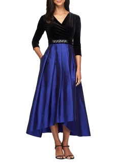 Alex Evenings Velvet & Taffeta Fit & Flare Dress