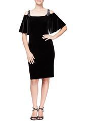 Alex Evenings Velvet Cold Shoulder Dress