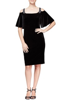 Alex Evenings Velvet Cold Shoulder Dress