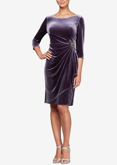 Alex Evenings Velvet Embellished Sheath Dress