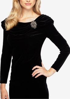 Alex Evenings Velvet Embellished Top
