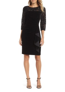 Alex Evenings Velvet Embroidered Sheath Dress (Regular & Petite)