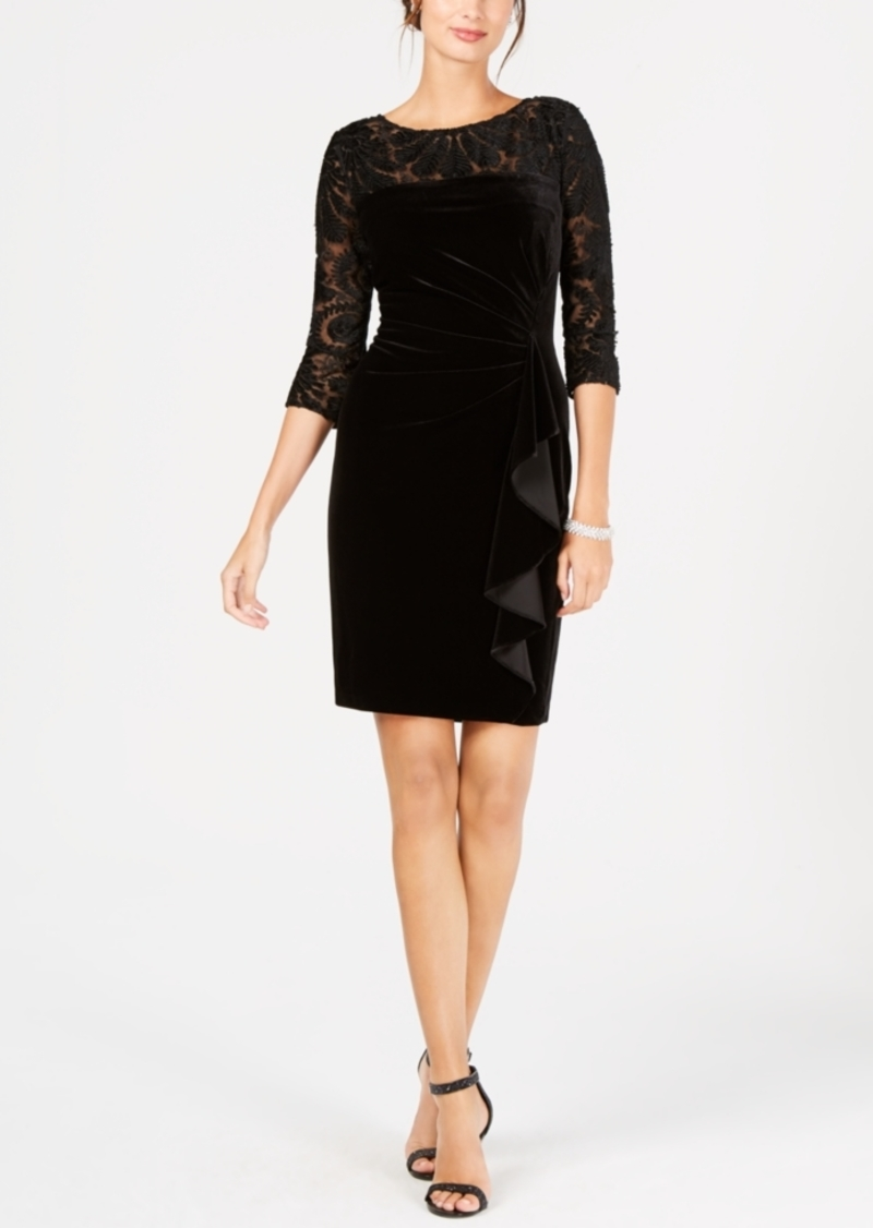 Alex Evenings Velvet Illusion Sheath Dress