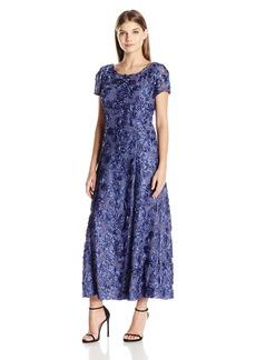 Alex Evenings Women's 10P Long A-line Rosette Dress with Short Sleeves Sequin Detail  10P