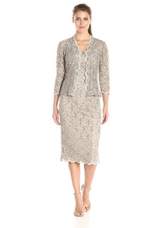 Alex Evenings Women's 2 Piece T-Length All Over Lace Jacket Dress With Sequin Detail