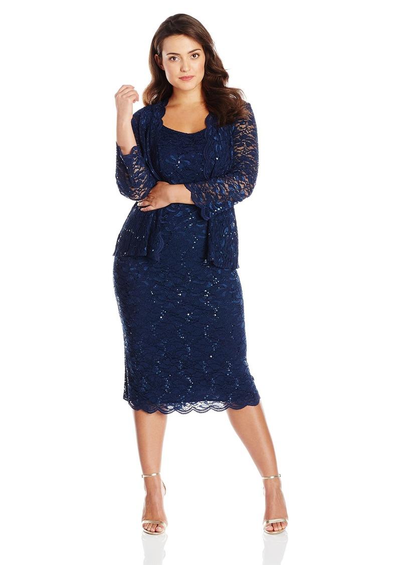 Alex Evenings Women's 20W Plus Size Tea Length Lace Dress and Jacket  20W