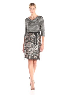 Alex Evenings Women's 3/4 Sleeve Blouson Dress with Sequin Detail Skirt