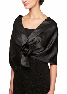Alex Evenings Women's 3/4 Sleeve Bolero Shrug Jacket Shawl Black ONE Size
