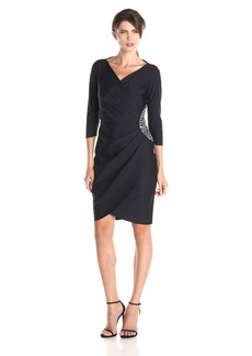 Alex Evenings Women's Slimming 3/4 Sleeve Embellished Waist Gathered V-Neck Dress