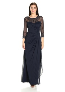 Alex Evenings Women's 3/4 Sleeve Gown with Beaded Illusion Neckline Dress (Petite and Regular Sizes)