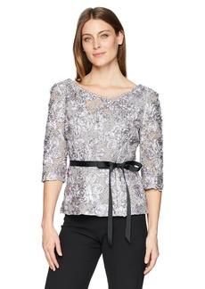 Alex Evenings Women's 3/4 Sleeve Rosette Blouse  XL