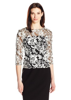 Alex Evenings Women's 3/4 Sleeve Soutache Blouse  S
