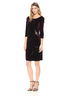 Alex Evenings Women's 3/4 Sleeve Velvet Dress With Embellishment At The Hip (Petite and Regular Sizes)