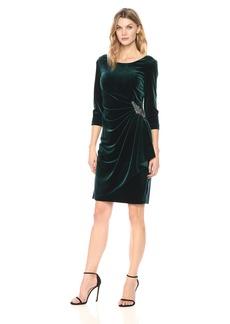 Alex Evenings Women's 3/4 Sleeve Velvet Dress With Embellishment At The Hip (Petite and Regular Sizes)