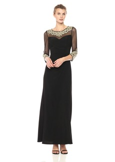 Alex Evenings Women's a-Line Dress with Embroidered Neckline and Illusion Sleeves  18
