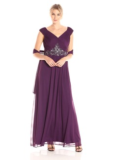 Alex Evenings Women's a Line Dress with Pleated Bodice and Beaded Waist
