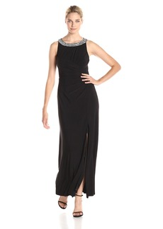 Alex Evenings Women's A-Line Gown with Beaded Neckline and Cutout Back Detail