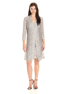Alex Evenings Women's All Over Lace Shift Jacket Dress