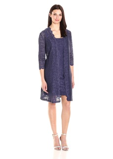 Alex Evenings Women's All Over Lace Shift Jacket Dress  18