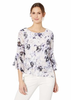 Alex Evenings Women's Asymmetric Chiffon Blouse with Bell Sleeves (Missy Petite)  M