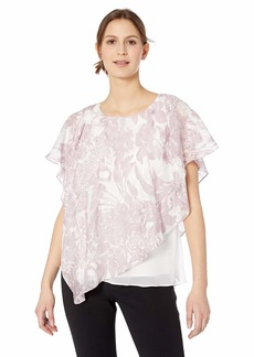 Alex Evenings Women's Asymmetric Single Tiered Chiffon Blouse Shirt  S