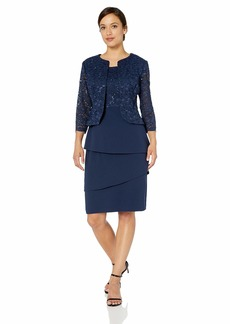 Alex Evenings Women's Asymmetric Tiered Skirt and Jacket (Regular and Petite) Navy Jac 16P