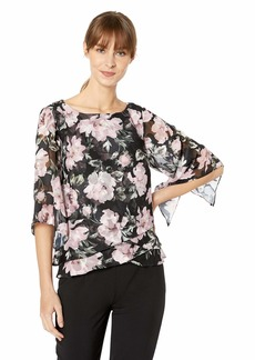 Alex Evenings Women's Asymmetric Tulip Tier Chiffon Blouse Shirt (Missy Petite)  M