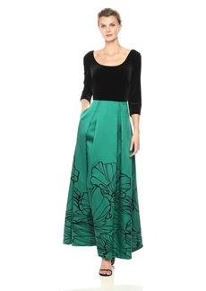 Alex Evenings Women's Ballgown With Flocked Detail Skirt and Velvet Bodice Dress