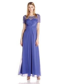 Alex Evenings Women's Beaded Illusion Neckline Dress