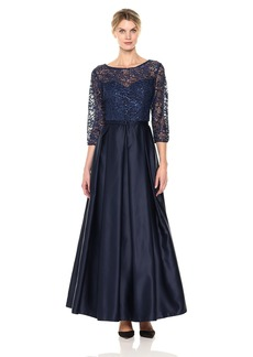 Alex Evenings Women's Belted Ballgown with Illusion Neckline and Sleeves Dress